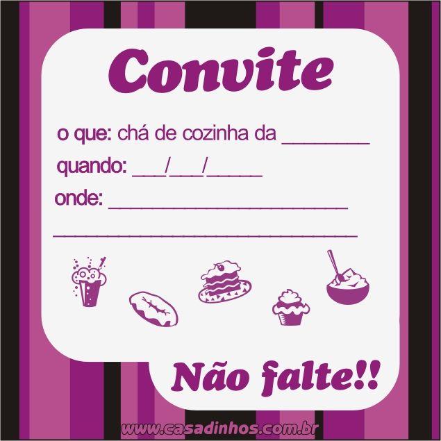 Convites Para Ch   De Cozinha